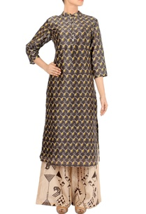 black-beige-printed-chanderi-silk-kurta-set