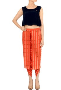black-crop-top-with-orange-printed-dhoti-pants