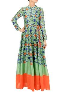 leaf-green-orange-maxi-dress