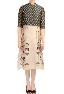 beige-dress-with-printed-brown-crop-jacket