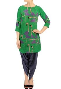 emerald-green-flamingo-print-tunic-with-dhoti-pants