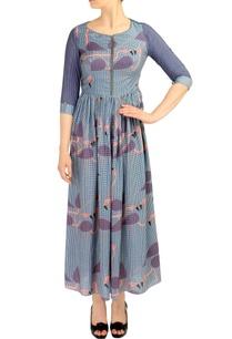 blue-flamingo-print-maxi-dress