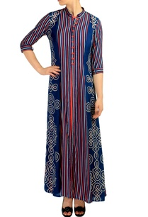 blue-orange-striped-print-maxi-dress