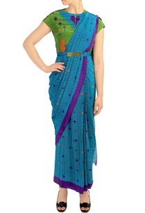 blue-printed-sari-with-attached-blouse