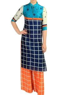 blue-checkered-kurta-with-orange-palazzos