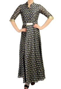 black-printed-maxi-dress-with-belt