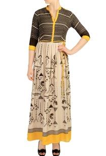 black-beige-printed-long-dress
