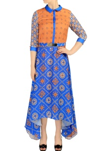 blue-rust-orange-printed-collared-dress