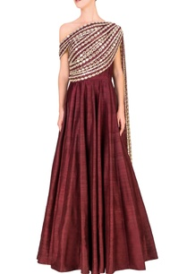 wine-embellished-one-shouldered-anarkali