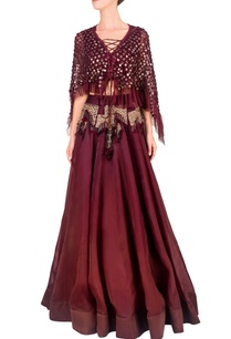 wine-embellished-cape-skirt-set