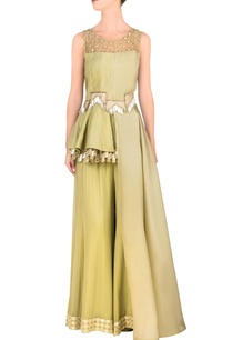 pista-green-side-flared-peplum-top-palazzo-pants
