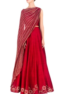 red-dupatta-attached-blouse-lehenga-set