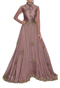 frosted-lavendar-gold-embellished-collared-dress