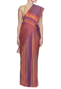 purple-orange-handwoven-striped-sariy
