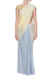 yellow-blue-striped-handwoven-jacquard-sariy
