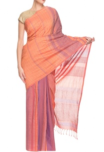 orange-purple-striped-handwoven-sari