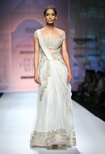 white-gold-off-shouldered-sari-gown