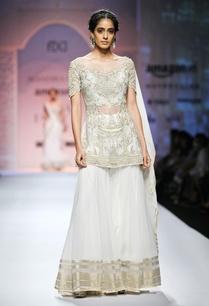 white-gold-embroidered-short-kurta-with-skirt