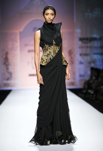 black-ruffled-sari-gown