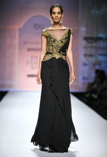 black-gold-embroidered-draped-sari-gown