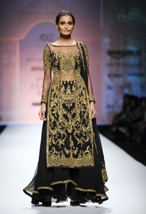 black-gold-embroidered-long-kurta-with-skirt