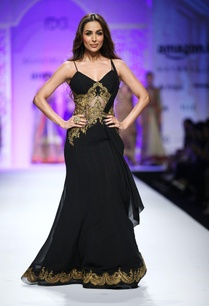 black-sleeveless-embroidered-sari-gown