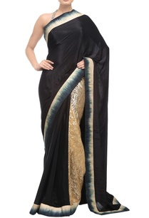 black-gold-sari-with-silk-shaded-border