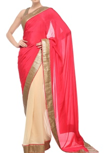 coral-pink-beige-sari-with-antique-gold-sequin-border