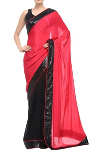 black-coral-pink-sari-with-sequin-border-details