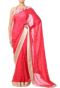 coral-pink-floral-threadwork-sari