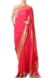 coral-pink-sari-with-gold-border