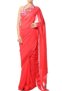 coral-orange-floral-embroidered-sari