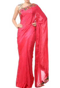coral-pink-floral-threadwork-embroidered-sari