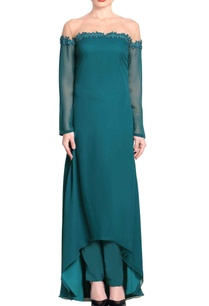 teal-green-net-yoke-kurta-set