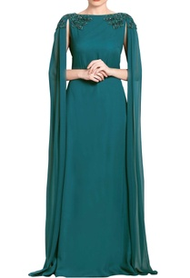 teal-green-embroidered-draped-gown
