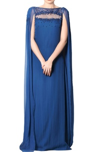 cobalt-blue-embroidered-draped-gown