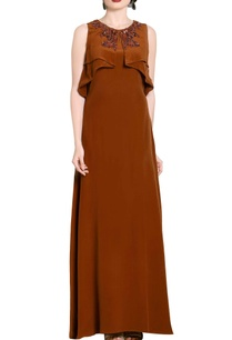 brown-flap-embellished-gown
