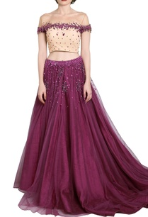 wine-embellished-lehenga-with-nude-off-shouldered-blouse