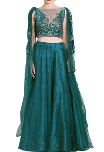 teal-green-embellished-draped-lehenga-set