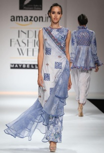 white-blue-embroidered-draped-kurta-set