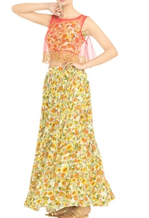 white-yellow-printed-crop-top-with-skirt-coral-throw-on