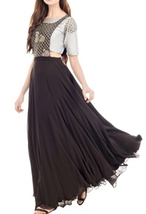 black-embroidered-dungaree-dress-with-grey-crop-top