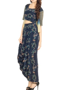 bottle-blue-printed-crop-top-with-dhoti-skirt-ombre-jacket