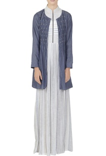 white-striped-dress-with-chambray-shirt