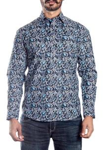 black-and-blue-paisley-printed-shirt