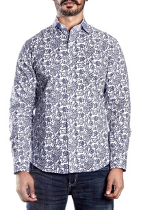 white-blue-floral-printed-shirt