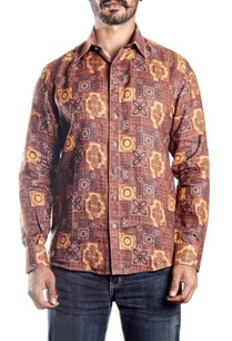 brown-printed-linen-shirt