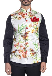 white-floral-french-bird-printed-nehru-jacket