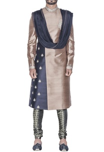 beige-black-sherwani-with-churidar