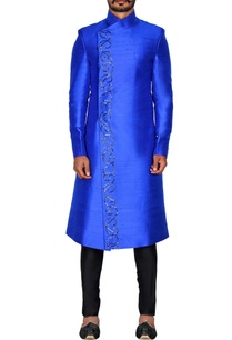 blue-raw-silk-overlap-sherwani
